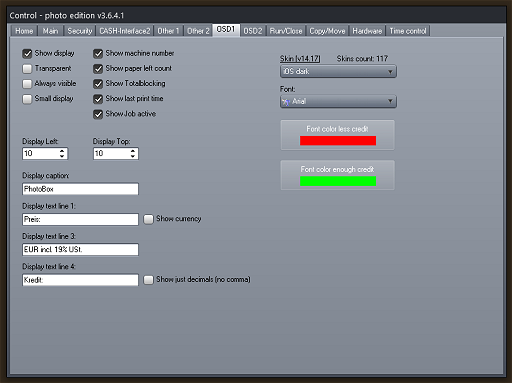 Photo booth cash control System - OSD1 Settings