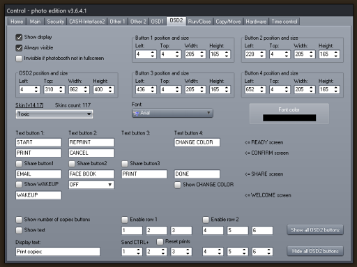 Photo booth cash control System - OSD2 Settings